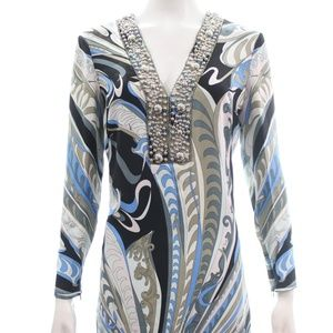 EMILIO PUCCI LONG SLEEVED V-NECK PRINT DRESS 8